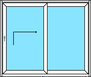 2 teilige Hebe- Schiebetür, Hebe- Schiebetür nach rechts öffnend und Festverglasung