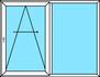 2-teilige Parallel- Schiebetür, Festverglasung und PAS- Türe mit umlaufender Spaltlüftung und nach rechts zu öffnen