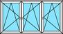 3-teiliges Fenster Dreh-Kipp links, rechts, rechts