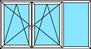 3-teiliges Fenster Dreh-Kipp links, rechts, Festverglasung