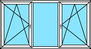 3-teiliges Fenster Dreh-Kipp links, Festverglasung, Dreh-Kipp rechts