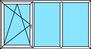 3-teiliges Fenster Dreh-Kipp links, Festverglasung, Festverglasung