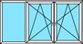 3-teiliges Fenster Festverglasung, Dreh-Kipp links, Dreh-Kipp rechts