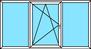 3-teiliges Fenster Festverglasung, Dreh-Kipp links, Festverglasung