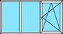 3-teiliges Fenster Festverglasung, Festverglasung, Dreh-Kipp rechts