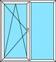 2-teilige Balkontür Dreh-Kipp links und Festverglasung