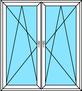 2 Balkontürflügel Dreh-Kipp links und rechts