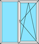 2-teilige Balkontür Festverglasung und Dreh-Kipp rechts