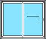 2 teilige Hebe- Schiebetür, Festverglasung und Hebe- Schiebetür nach links öffnend