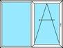 2-teilige Parallel- Schiebetür, Festverglasung und PAS- Türe mit umlaufender Spaltlüftung und nach links zu öffnen