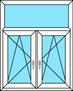 2-teiliges Fenster Dreh-Kipp links und rechts mit festem Oberlicht