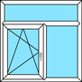 2-teiliges Fenster Dreh-Kipp links, Festverglasung mit festem Oberlicht