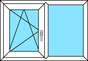 2-teiliges Fenster Dreh-Kipp links und Festverglasung, horizontal