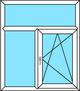 2-teiliges Fenster Festverglasung, Dreh-Kipp rechts mit festem Oberlicht