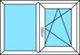 2-teiliges Fenster Festverglasung und Dreh-Kipp rechts, horizontal