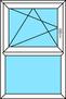 2-teiliges Fenster Dreh-Kipp links und Festverglasung, vertikal