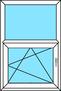 2-teiliges Fenster Festverglasung und Dreh-Kipp links, vertikal