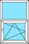 2-teiliges Fenster Festverglasung und Dreh-Kipp rechts, vertikal